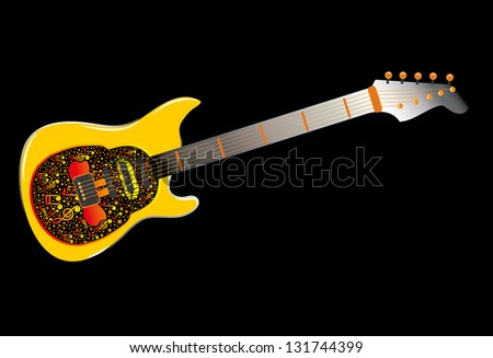 skull and guitar vector art - stock vector