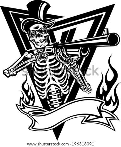 Grim Reaper Holding Gun Ace Spades Stock Vector 393846013