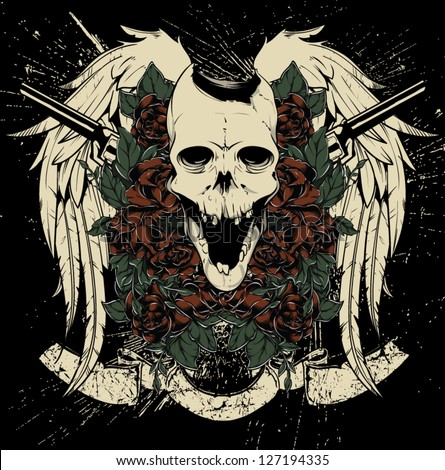 Skull and guns vector - stock vector
