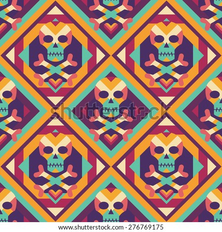 Skull and heart on colored geometric background - seamless vector pattern. Abstract geometric seamless vector background. The Tibetan Book of the Dead concept background. Design element. - stock vector