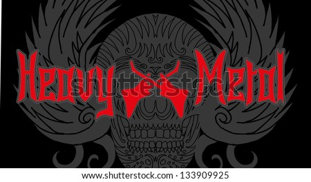 skull and music vector art - stock vector