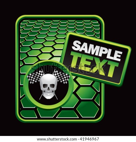 skull and racing flags green hexagon ad