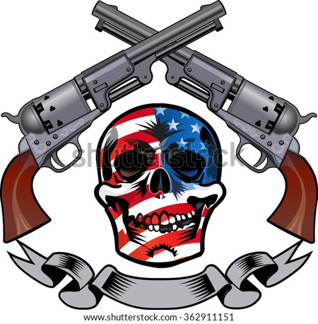 Skull and Revolver. tattoo of skeleton with guns - stock vector
