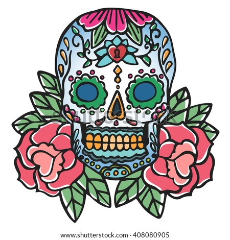 Skull and rose. Old school retro tattoo vector illustration. Traditional color tattoo elements. Mexican symbols - stock vector