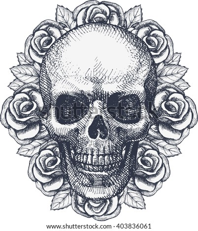 Skull and roses  - stock vector