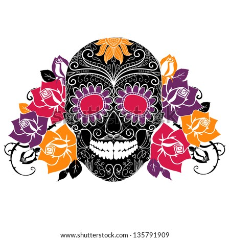 Skull and roses, Colorful Day of the Dead card - stock vector