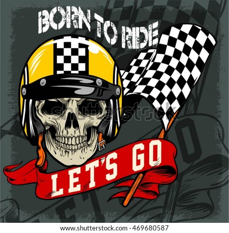skull vintage racing flag ribbon stock vector royalty free