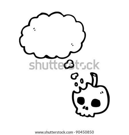 skull apple with thought bubble