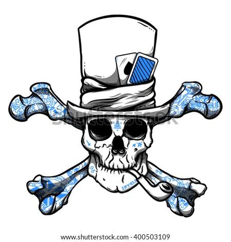 Skull art. Skull with tattoos. Skull with pipe. Skull in hat. Skull with card. Skull and aces. Skull vector art. Skull illustration. Skull t shirt print. Skull design. Skull character. Skull face. - stock vector
