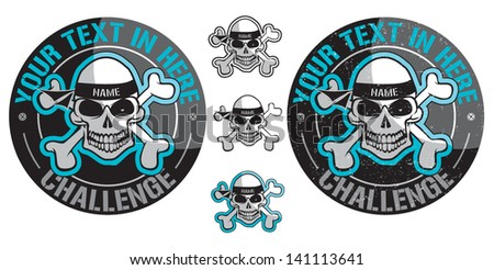 Skull badge - stock vector