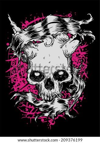 Skull Banner - stock vector