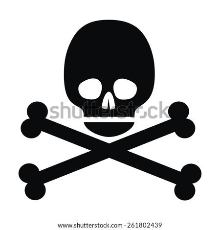 skull, black silhouette - stock vector