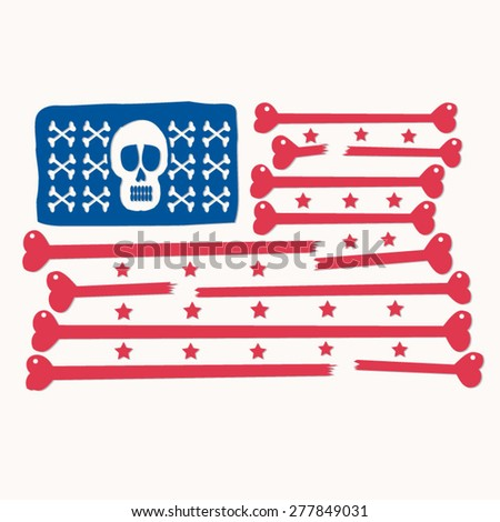 Skull bones america flag illustration, t-shirt graphics, vectors, typography  - stock vector