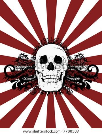skull burst vector - stock vector