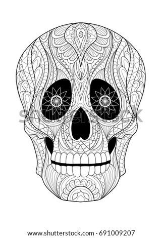 skull coloring page stock vector 691009207 shutterstock