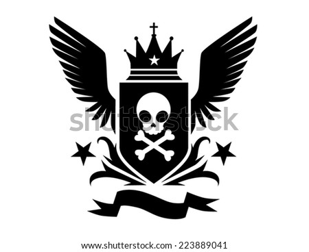 skull crest wings and crown modern cute  isolated vector illustration - stock vector