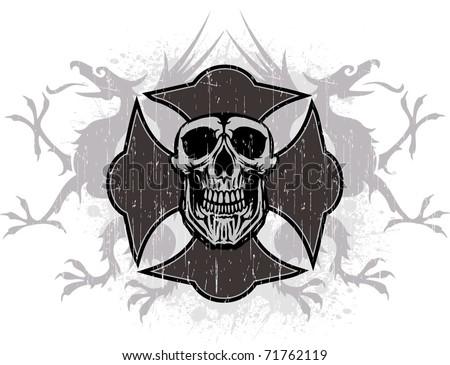 skull cross - stock vector