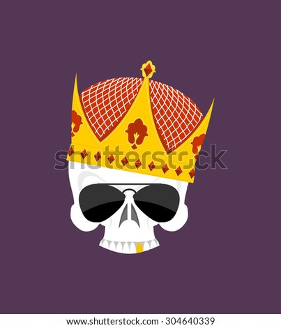 Skull Crown. White head skeleton in Sun points, and with gold teeth. Vector logo emblem for yard bullies. Emblem for gangs. Street Kings - stock vector