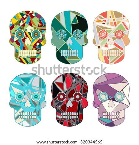 Skull day of the Dead set - stock vector illustration. Abstract pattern. - stock vector