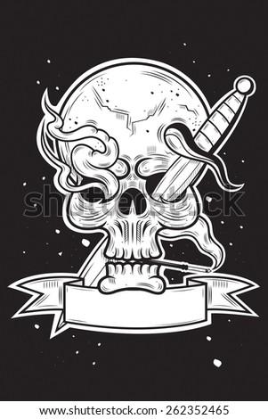 Skull demon art - stock vector