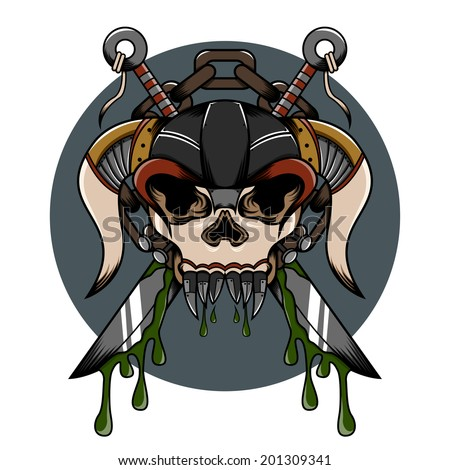 Skull demon hardcore illustration with weapon and another detail for tattoo and shirt - stock vector