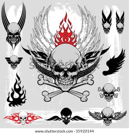 Skull design elements - stock vector