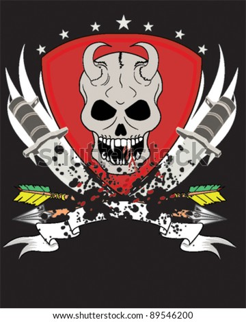Skull Design with knife, arrow and banner