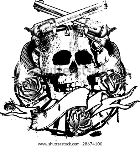 skull emblem whit guns, roses and ribbon - stock vector