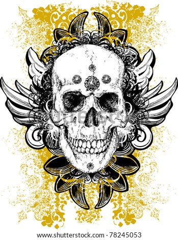 skull emblem with yellow - stock vector