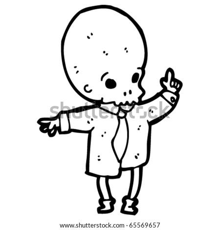 skull face cartoon character - stock vector