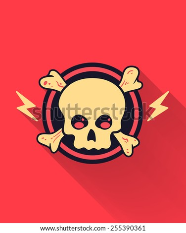 Skull Flat style Icon with long shadows - stock vector