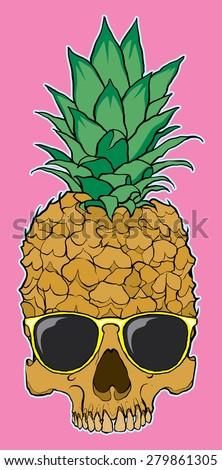 skull fruit pineapple with glasses - stock vector