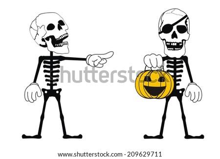 skull funny cartoon in vector format very easy to edit - stock vector