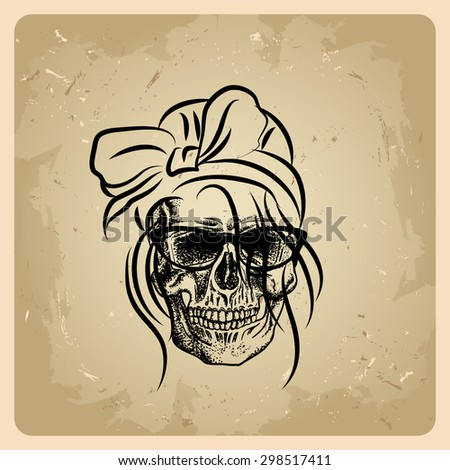 Skull girl on the vintage background - stock vector