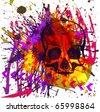 skull grunge background - stock vector