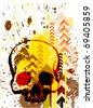 skull grunge background design - stock vector