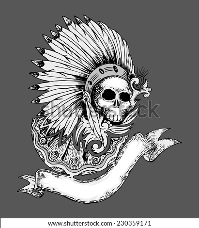 skull hand draw with indian ornament and feathers isolated