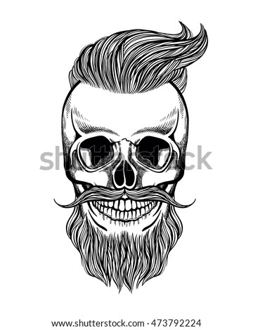 skull hipster with mustache beard coloring page vector illustration - Mustache Coloring Pages