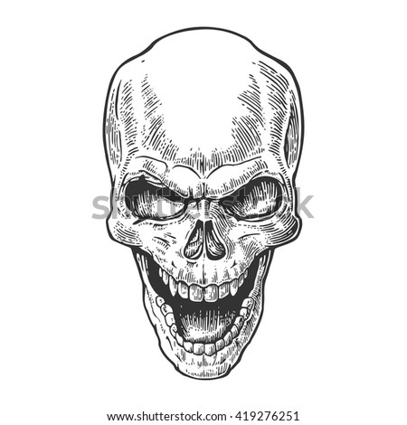 Skull human with a smile. Black vintage engraving vector illustration. For poster and tattoo biker club. Hand drawn design element isolated on white background - stock vector