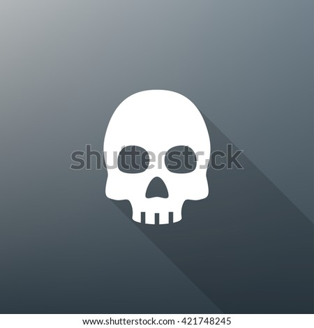 Skull Icon Fill White on Gradient Background with Long Shadow - stock vector