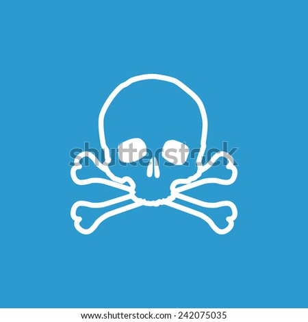 skull icon, isolated, white on the blue background. Exclusive Symbols  - stock vector