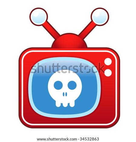 Skull icon on retro television set - stock vector