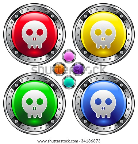 Skull icon on round colorful vector buttons suitable for use on websites, in print materials or in advertisements.  Set include red, yellow, green, and blue versions. - stock vector