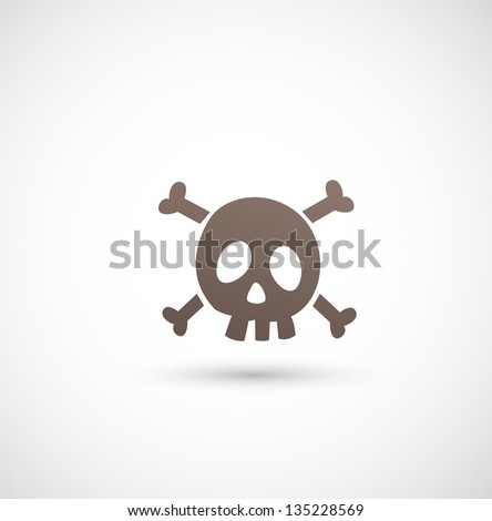 skull icon on white background vector