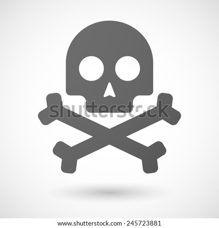 skull   icon with shadow on white background - stock vector