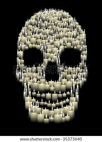 Skull illustration composed of hundreds of vector candles - stock vector