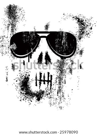 skull illustration whit sunglasses - stock vector