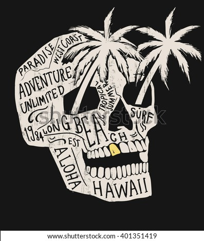 Skull illustration with Hawaiitypography for t-shirt print , vector illustration. - stock vector