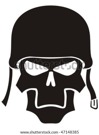 Skull in a helmet. - stock vector