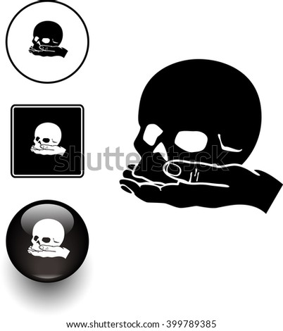 skull in hand symbol sign and button - stock vector